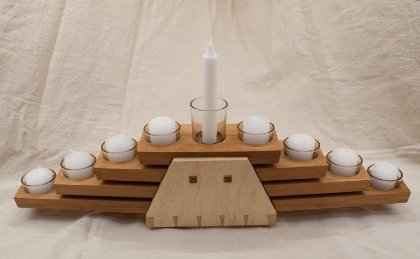 Cherry and Maple Hanukkah Menorah